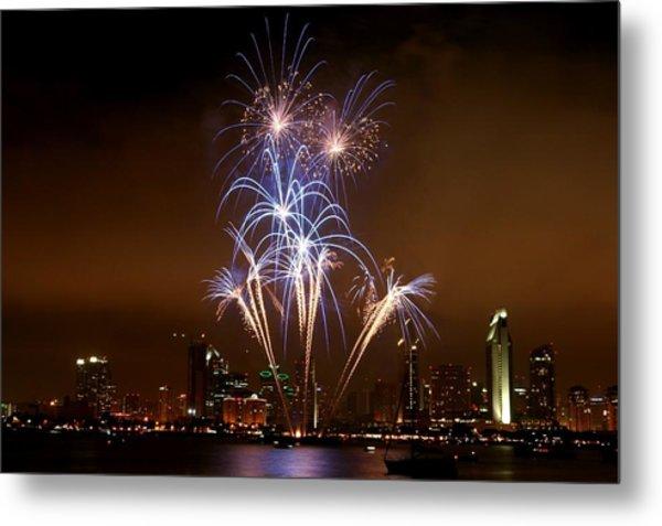 Fireworks Over San Diego Skyline Metal Print