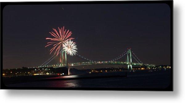Fireworks Over Verrazano Bridge Metal Print