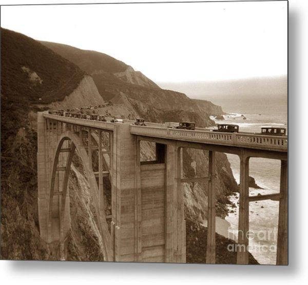 First Cars Across Bixby Creek  Bridge Big Sur California  Nov. 1932 Metal Print