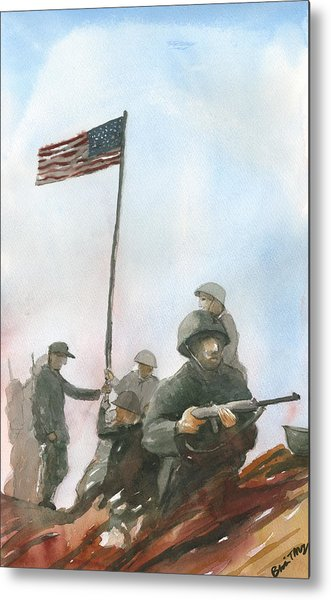 First Flag Over Iwo Jima Metal Print
