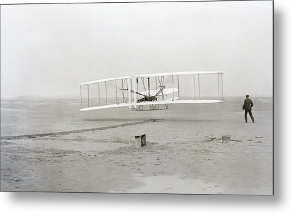 First Flight Captured On Glass Negative - 1903 Metal Print