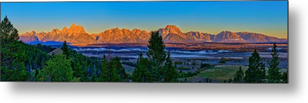 First Light On The Tetons Metal Print