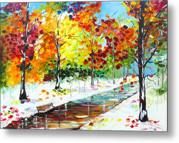 Metal Print featuring the painting First Snow by Kevin  Brown