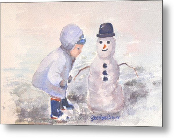Metal Print featuring the painting First Snowman by Genevieve Brown