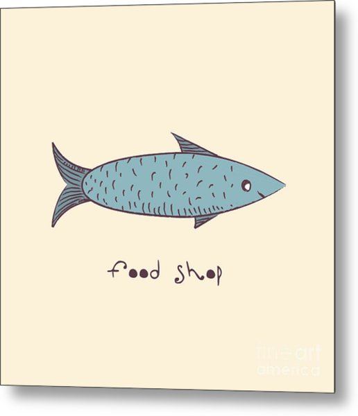 Fish A Freehand Drawing  Logo Store Food Metal Print