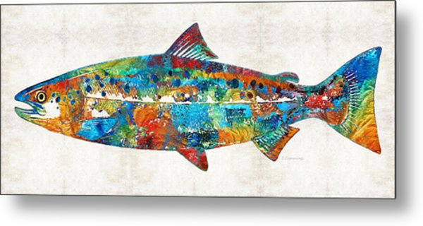 Fish Art Print - Colorful Salmon - By Sharon Cummings Metal Print
