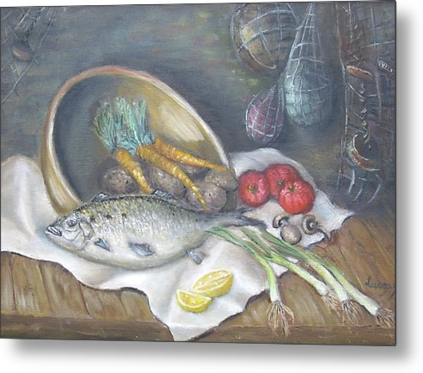 Metal Print featuring the painting Fish For Dinner by Katalin Luczay