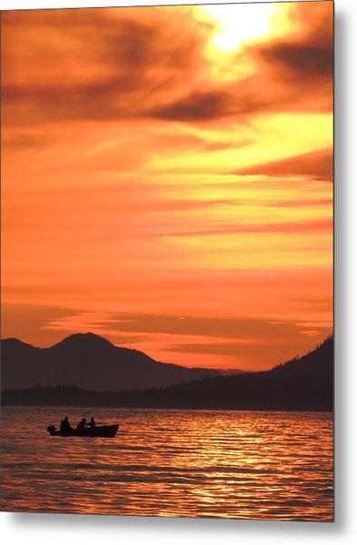 Fish Into The Sunset Metal Print