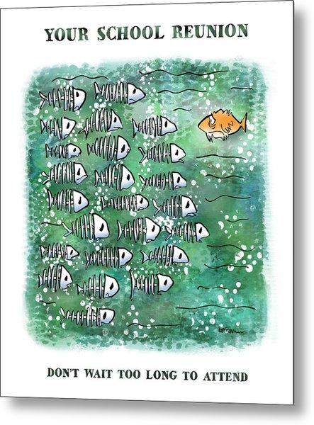 Fish School Reunion Metal Print