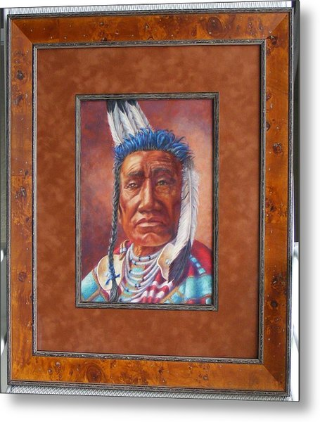 showing the frame on Fish Shows Native Am. Indian Metal Print