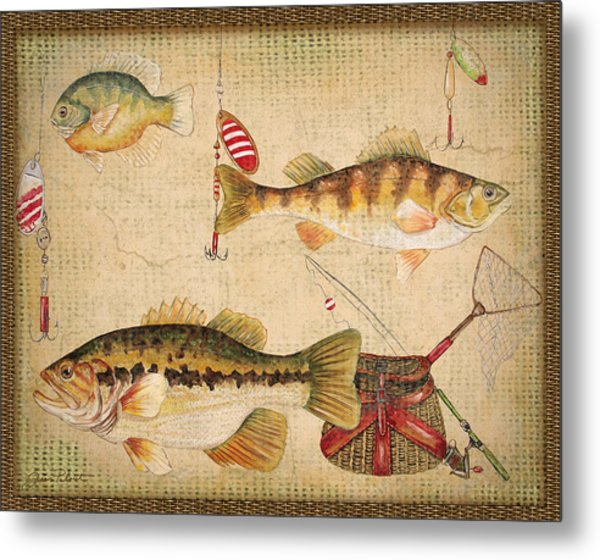 Fish Trio-a-basket Weave Border Metal Print