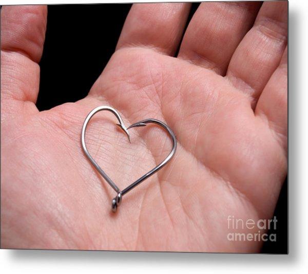Fisherman Heart Metal Print