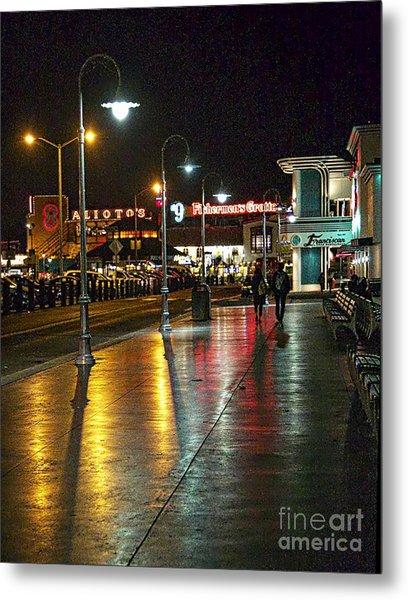 Fisherman's Wharf At Night Metal Print by Tina Araquistain
