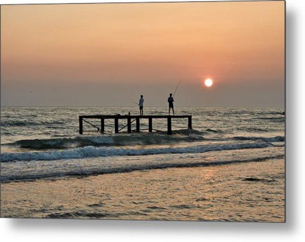 Fishermen At Sunset. Metal Print by Alexandr  Malyshev