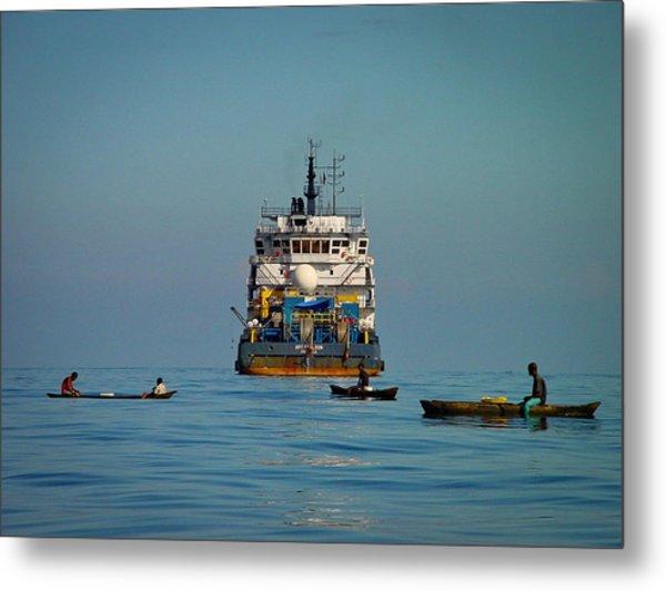 Fishing Around The Art Carlson On Anchor Metal Print