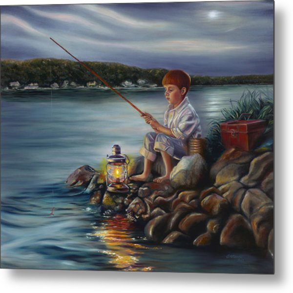 Fishing At Dusk Metal Print