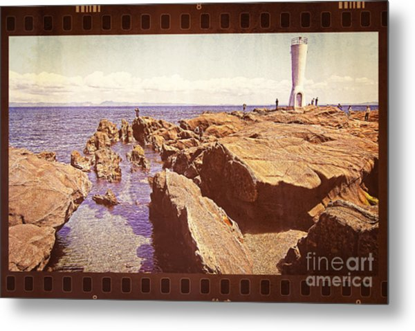 Fishing At Noon By The Lighthouse Metal Print