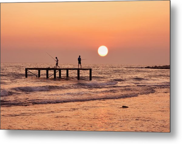 Fishing At Sunset. Metal Print by Alexandr  Malyshev