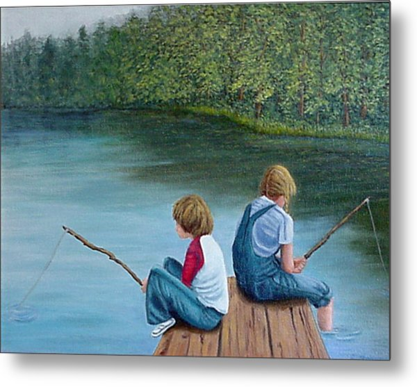Fishing At The Lake Metal Print