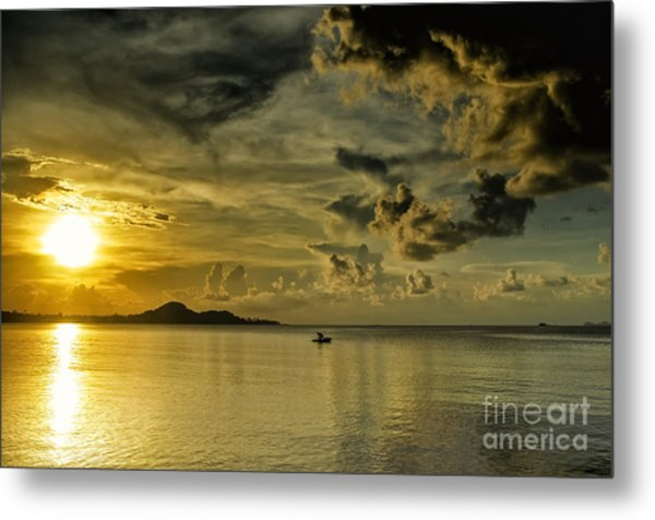 Fishing Before Dark Metal Print