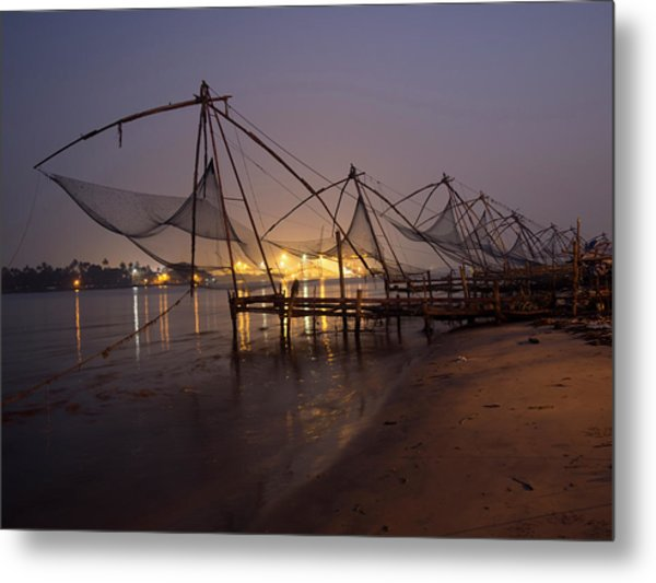 Fishing Boat And Crane At Cochin Metal Print by David H. Wells