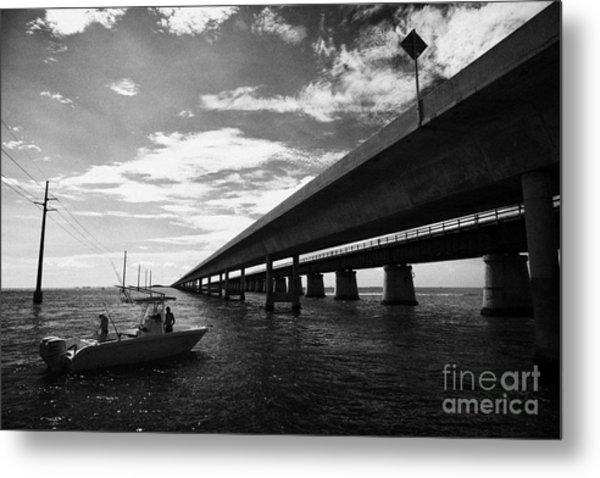 Fishing Boat Beneath New Seven Mile Bridge In Marathon In The Florida Keys Metal Print by Joe Fox