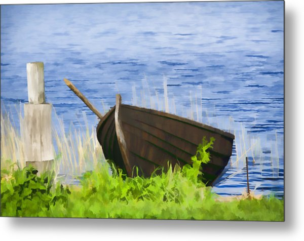Fishing Boat On The Volga Metal Print by Glen Glancy