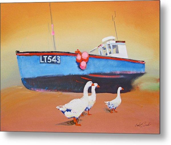 Fishing Boat Walberswick With Geese Metal Print
