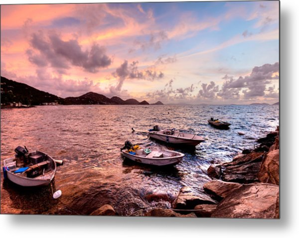 Fishing Boats At A Firey Sunset Metal Print by Anya Brewley Schultheiss