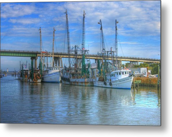Fishing Boats At The Dock Metal Print