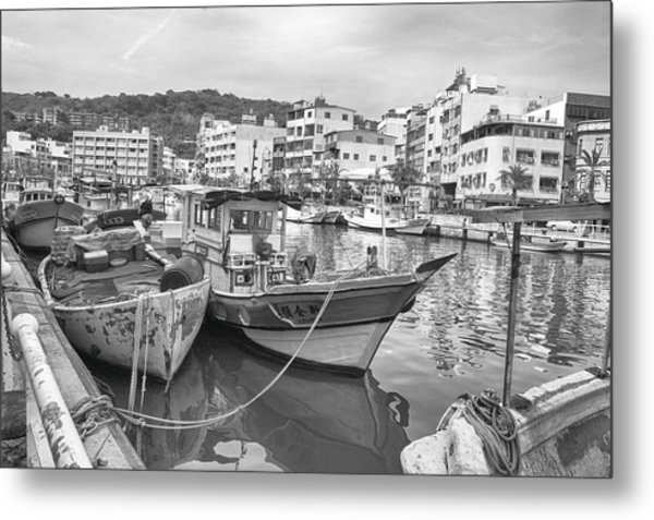 Fishing Boats B W Metal Print