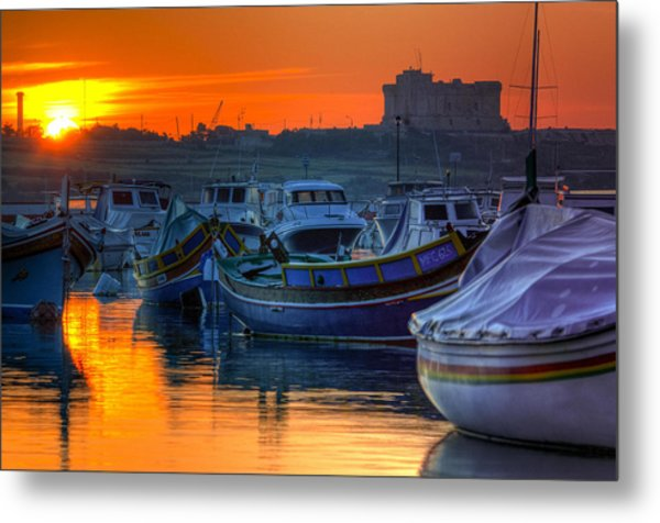 Fishing Boats In Birzebuggia Harbour Metal Print