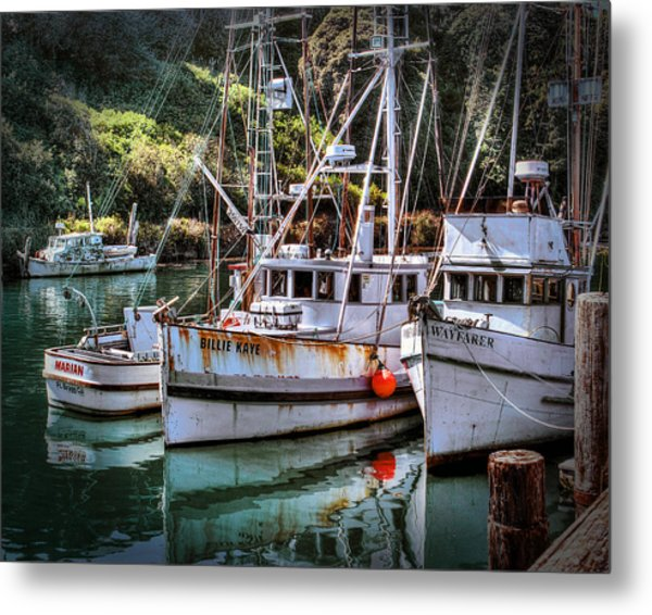 Fishing Boats In Fort Bragg Metal Print