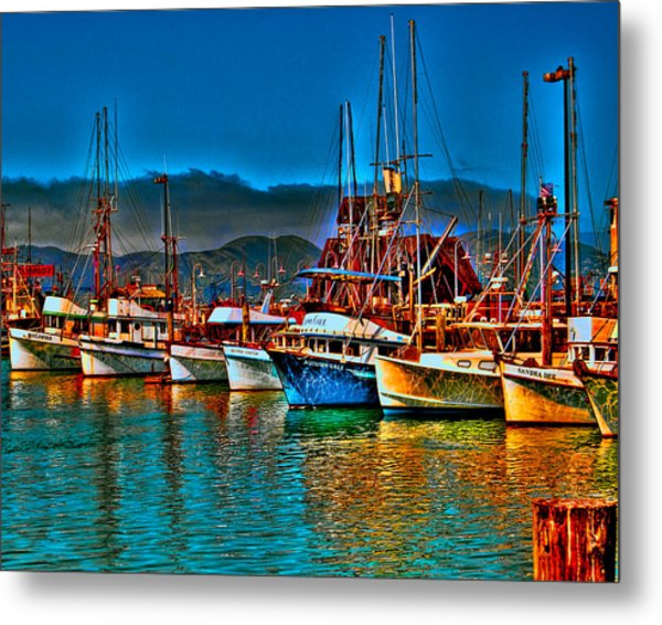 Metal Print featuring the photograph Fishing Fleet At Suns Setting by William Havle