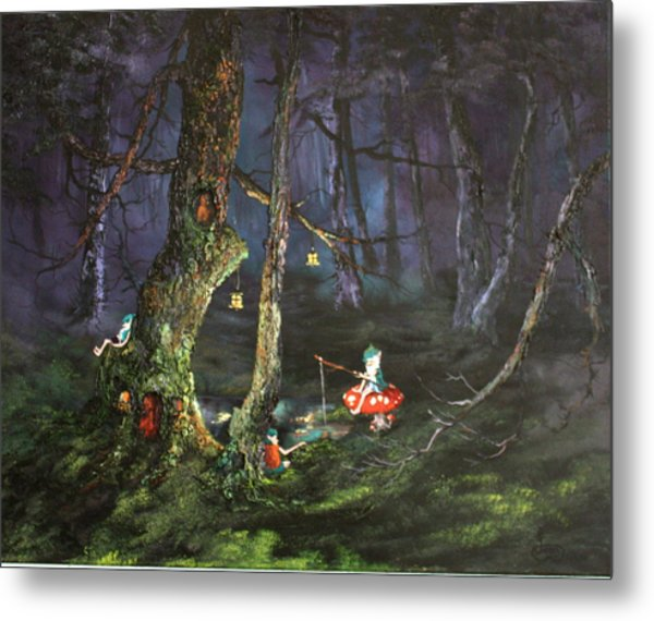Fishing For Supper On Cannock Chase Metal Print
