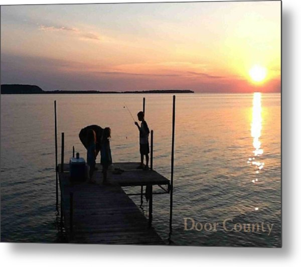 Fishing From The Dock In The Sunset Metal Print