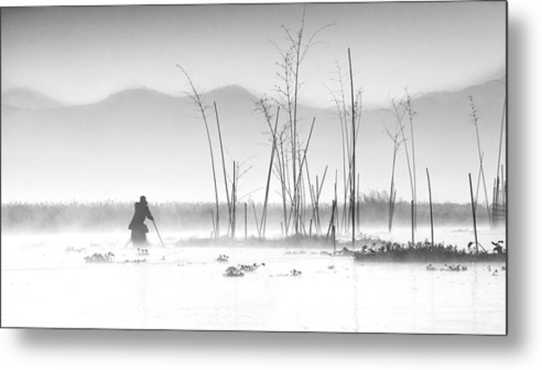 Fishing In A Misty Morning Metal Print