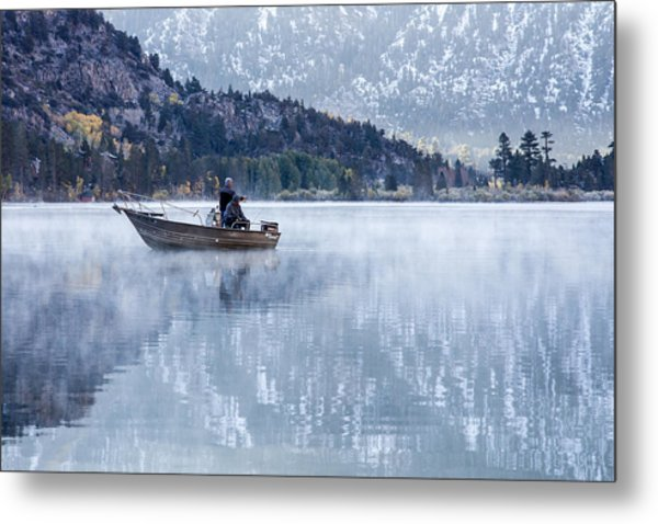 Metal Print featuring the photograph Fishing Into Silver by Priya Ghose