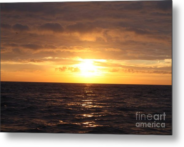 Fishing Into The Sunrise Metal Print by John Telfer