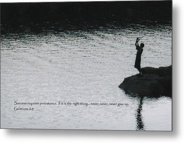 Fishing Late W/scripture Metal Print