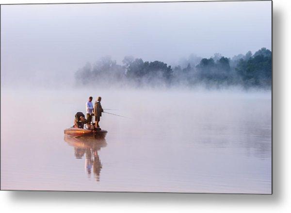 Fishing On Foggy Lake Metal Print