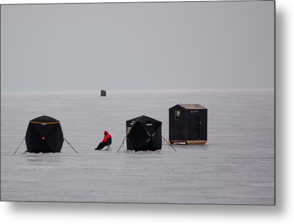 Fishing On Icy Lake Metal Print