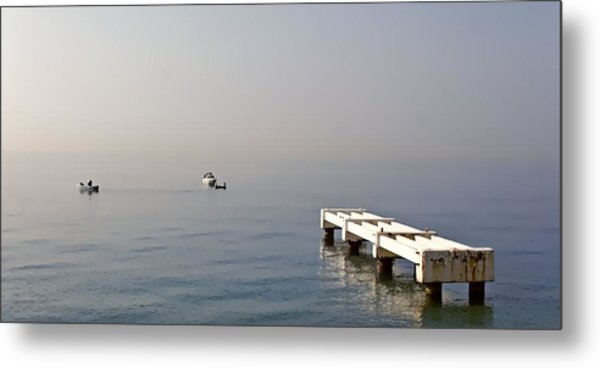 Fishing On The Riviera Metal Print by Jenny Hudson
