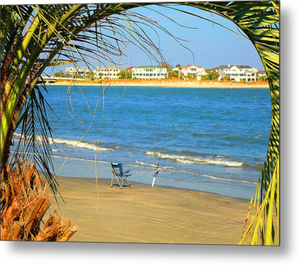 Fishing Paradise At The Beach By Jan Marvin Studios Metal Print