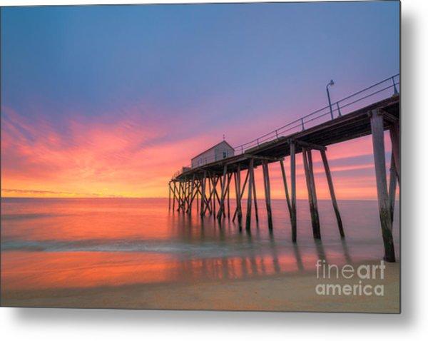Fishing Pier Sunrise Metal Print