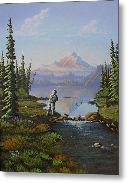 Fishing The High Lakes Metal Print