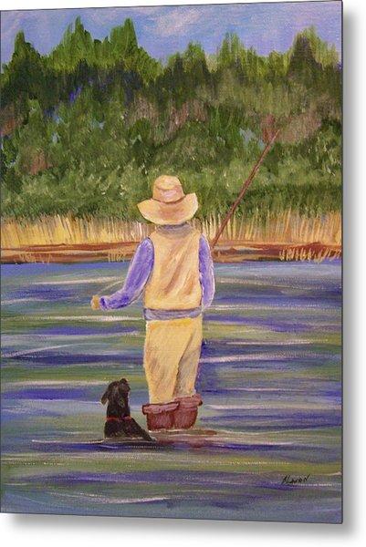 Fishing With Dog Metal Print