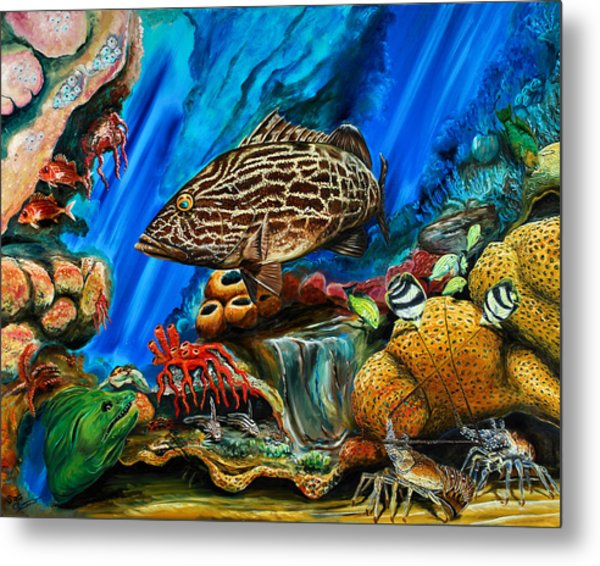 Metal Print featuring the painting Fishtank by Steve Ozment