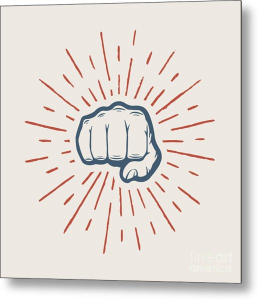 Fist With Sunbursts In Vintage Style Metal Print by Akimd