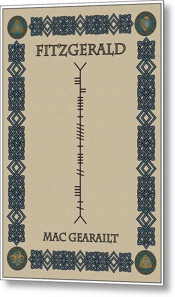 Fitzgerald Written In Ogham Metal Print
